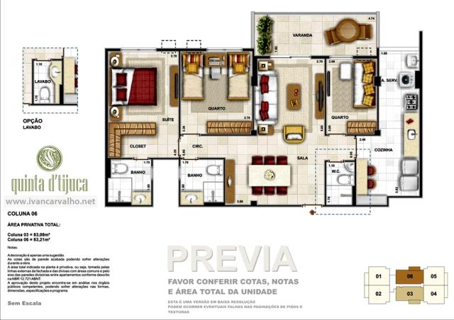 Planta apartamentos de 3 quartos | Quinta da Tijuca