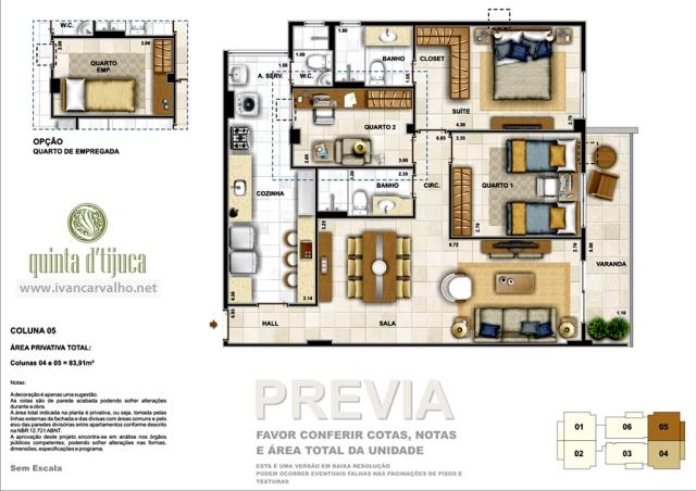 Planta apartamentos de 3 quartos | colunas 4 e 5