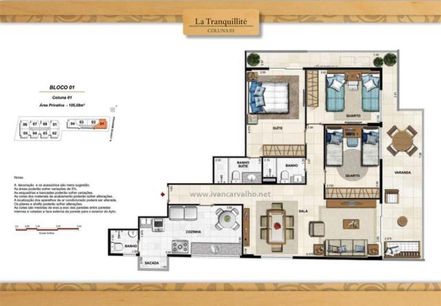 Conde de La Paix - 3 quartos ( 1 suíte ) coluna 01 bloco 1